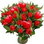 Rode Tulpen met hartjes