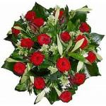 Wit met rode rozen boeket